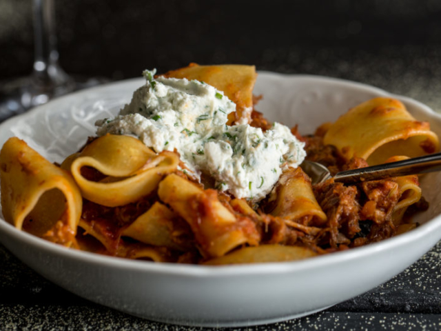 Homemade pasta with ricotta and meat sauce