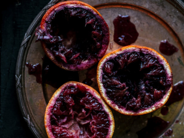 blood oranges food styling on vintage plates