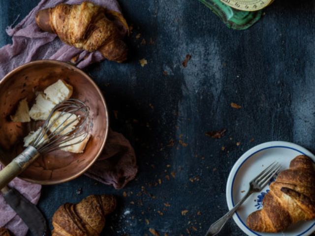 food styling croissants vintage props