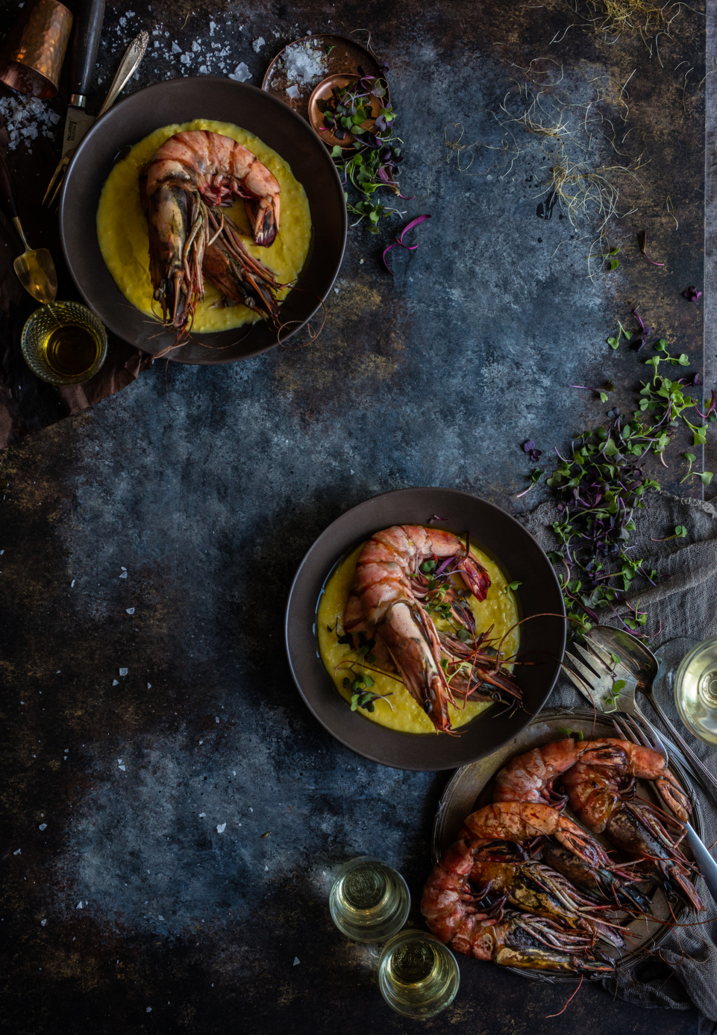 large prawns with corn in elegant food styling