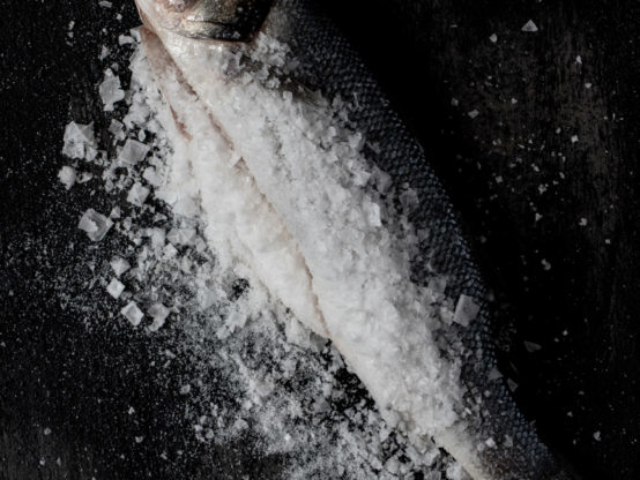 fish covered in salt