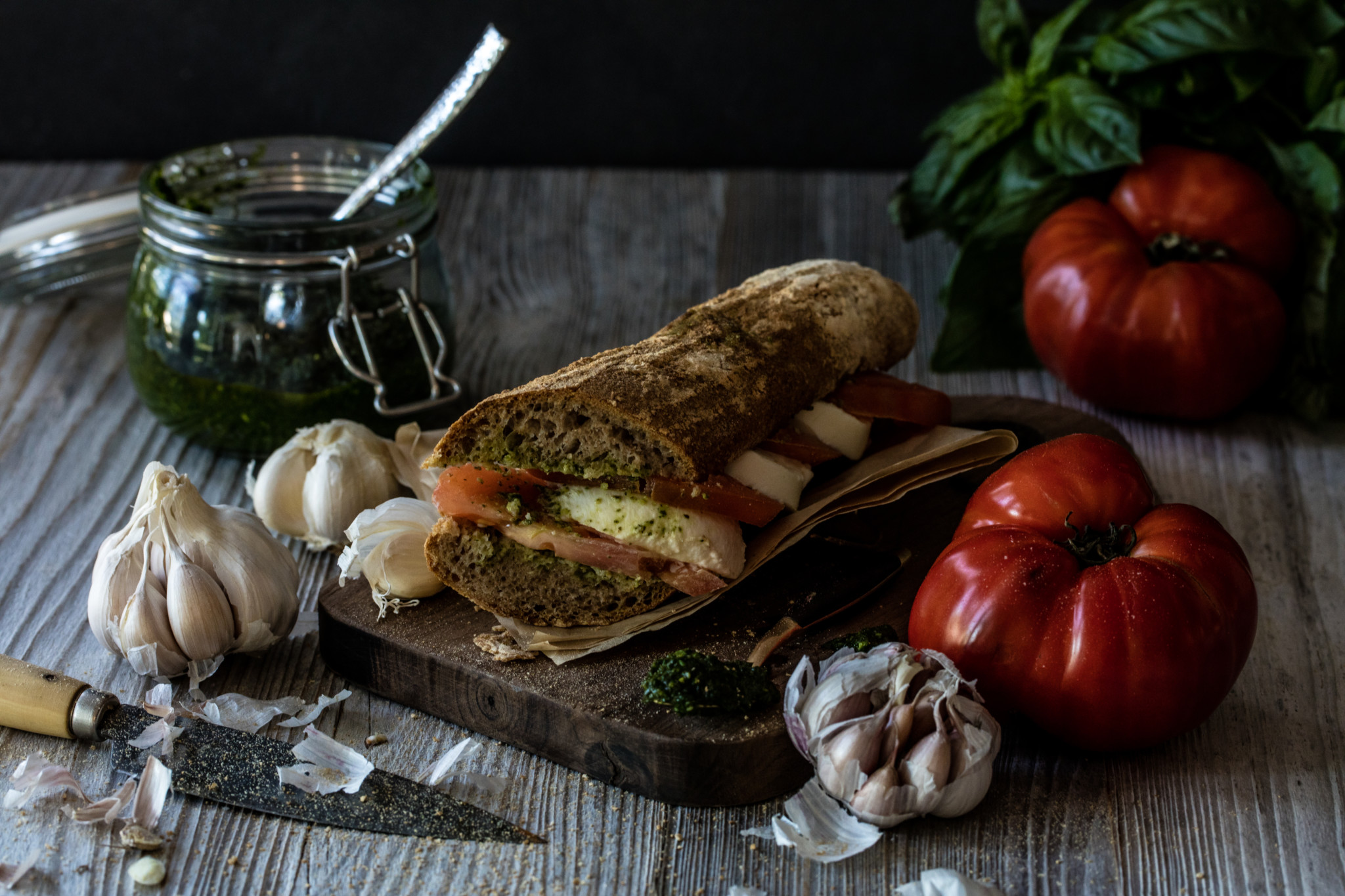 Food styling tomato pesto panini food photography