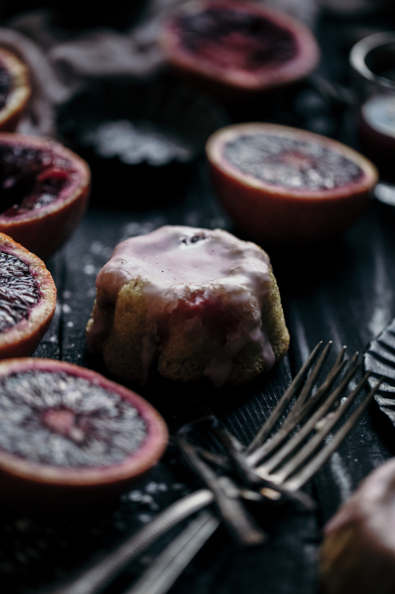 Blood orange cake in moody food photography