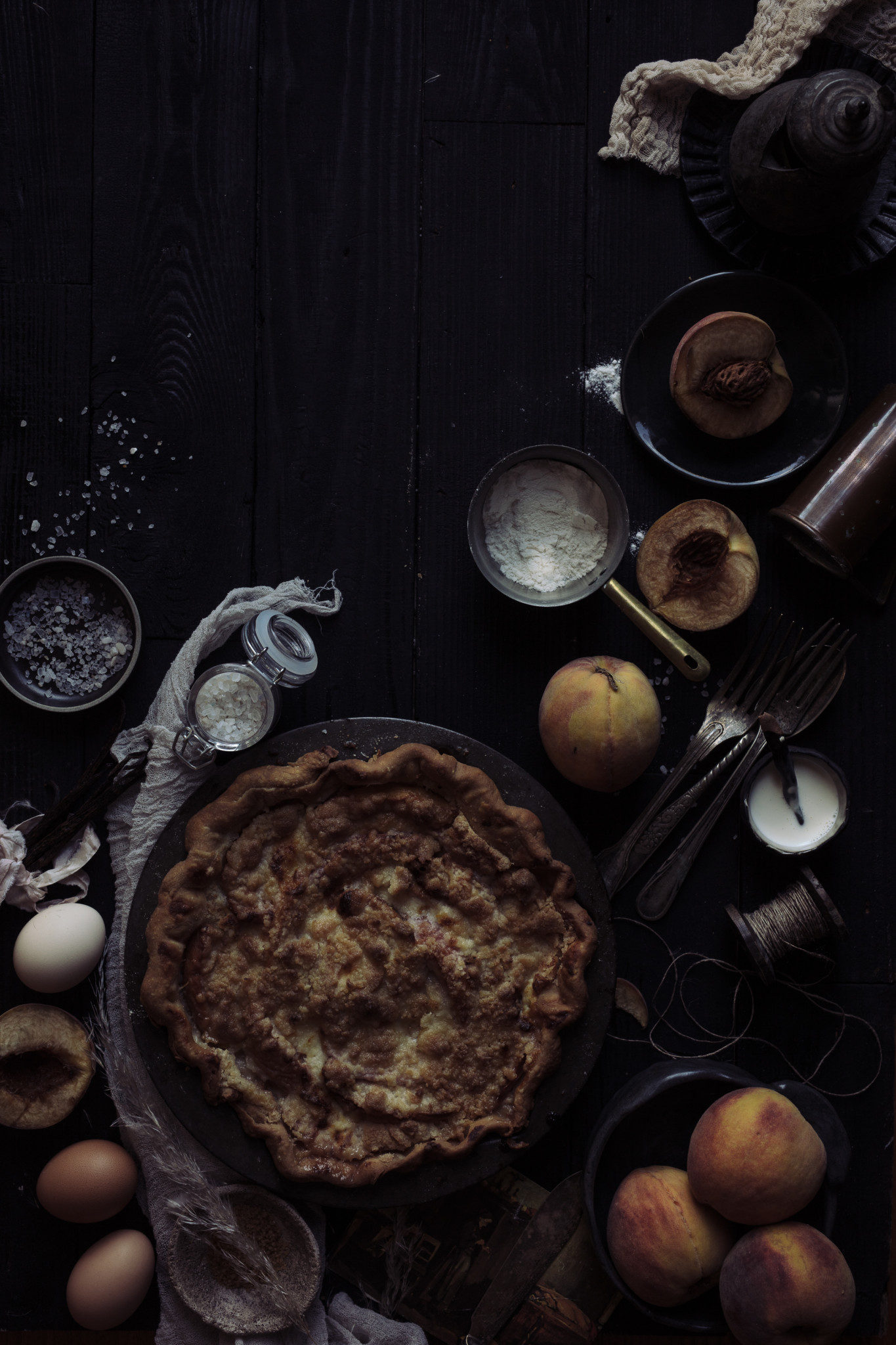 Beautiful food photo of peach pie